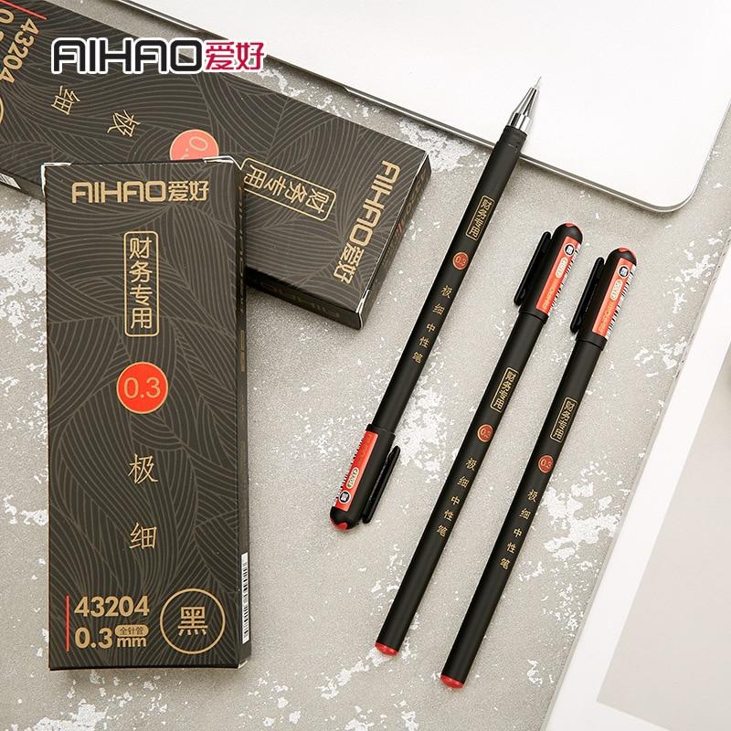 0.3mm Black Finance Gel Pens Kawaii Chinese Elegant Gel Pen For Writing Office School Supplies Aihao Stationery