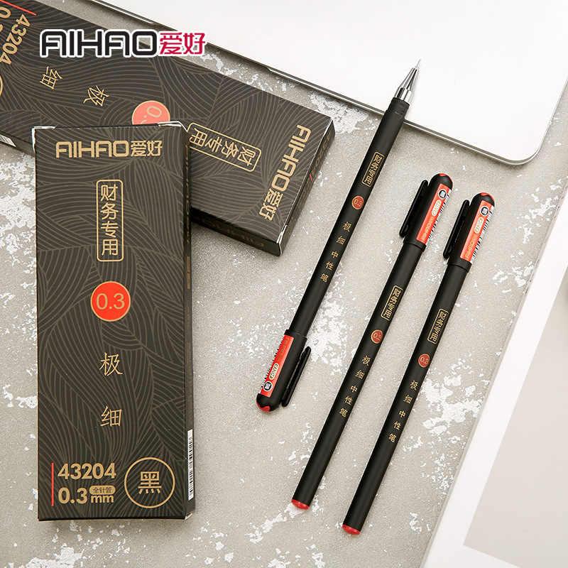 0.3mm שחור האוצר ג 'ל עטי Kawaii סיני אלגנטי עט ג' ל כתיבה ספר משרד Aihao כתיבה