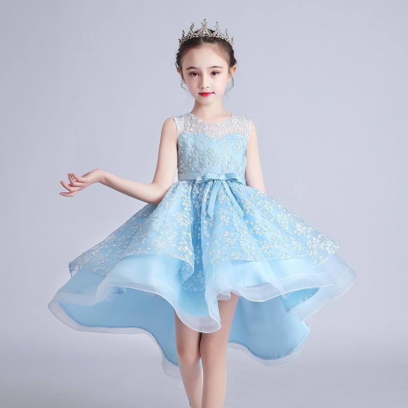 スカイブルー誕生日プリンセスガールズパーティードレス夏のノースリーブの弓キッズvestido 5 6 7 8 9 10 11 12歳2020子供服