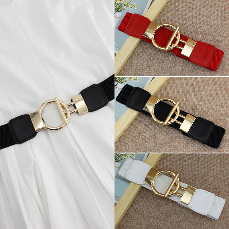 Woman Belt Dress Decorate Simple Sleeve Elastic Girdle Gold Buckle Wide Belts Body Belts Pasek Wide Female Belts Cinturon Mujer