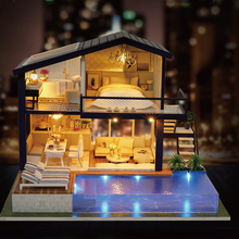 DIY villa doll house Furnitures Box Theatre miniature dollhouse toys for children doll house accessories mini house dollhouse diy doll house miniature with furnitures wooden dollhouse villa model children gift under the cherry tree toys 13835 e