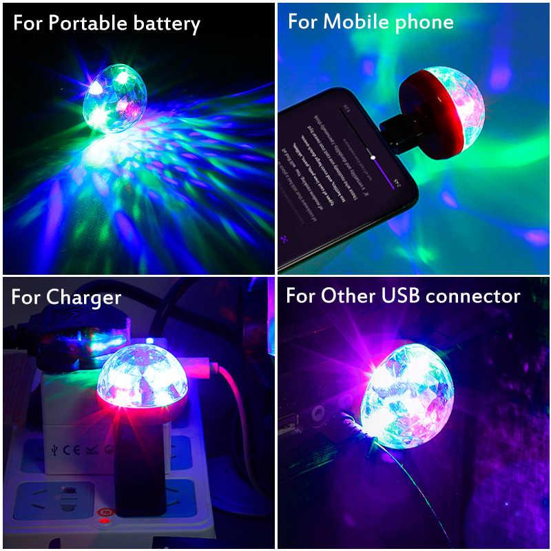 Mini USB RGB LED scena dyskoteki żarówka DJ kryształowe magiczne światło strona główna na przyjęcia urodzinowe salon uroczystości ślubne
