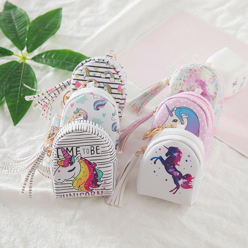 Unicorn Set Design Coin Purses Digital Printing Cartoon Unicorn Tassel Coin Purse Anti-Lost Storage Bag Girls Card Bag Kids Gift