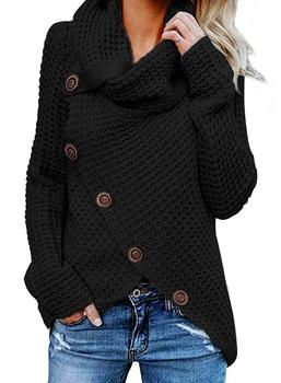 Fashion Casual Pullover Sweater Women Autumn Wrap Cowl Neck Asymmetric Hem Chunky Button Sweaters Plus Size 2020 New barbour essential chunky half button red