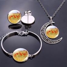 Flowers Bracelet/ Earrings/ Necklace Jewelry Set Poppy Flowers Glass Cabochon Stud Earrings Moon Necklace Bracelet for Women circle moon necklace bracelet earrings with ring set