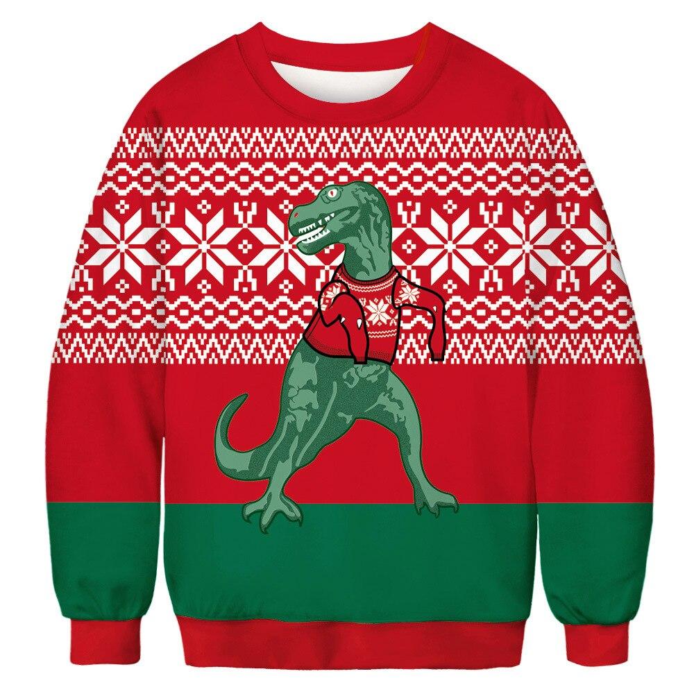 2019 3D Dinosaur Print Ugly Christmas Sweaters Jumper Tops Men Women Xmas Pullover Hoodie Sweatshirt Autumn Christmas Sweater