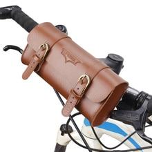 Bolso de cuero de cuadro frontal de bicicleta Retro montado en el manillar de la bicicleta