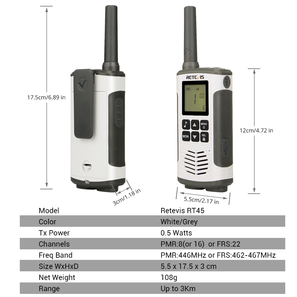 Image 5 - Retevis RT45 PMR446 Portable Two Way Radio 2pc Walkie Talkie 0.5W  PMR 446MHz FRS VOX Rechargeable Battery For Motorola TLKR T50hf  transceiverwalkie talkiewalkie talkie retevis