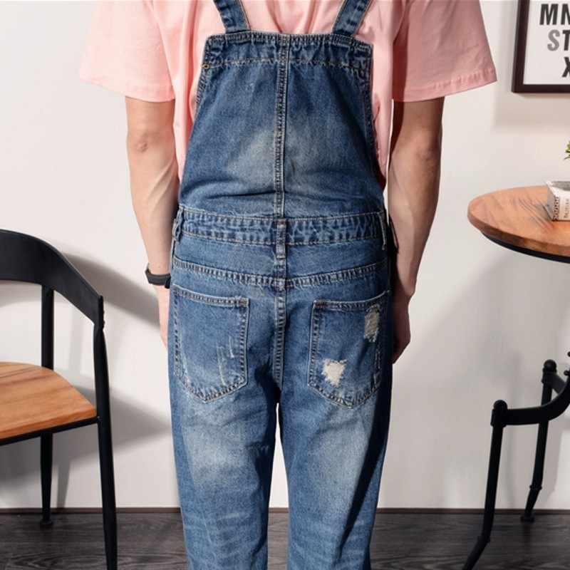 Macacão masculino 2020 verão moda buraco rasgado reto solto ajuste casual macacão lavado zíper tornozelo-comprimento calças homem mais tamanho