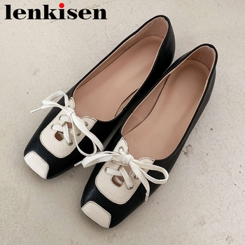 Lenkisen mixed color full grain leather comfortable shoes women square toe low heel lace up bowtie cute young lady hot pumps L96