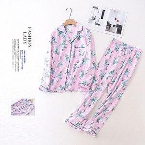 Image 4 - 100% Cotton Pyjamas Women Pajamas Sets Autumn Brushed Winter Warm Cute Cartoon Sleepwear Pijamas Mujer Pyjamas Womens Clothing