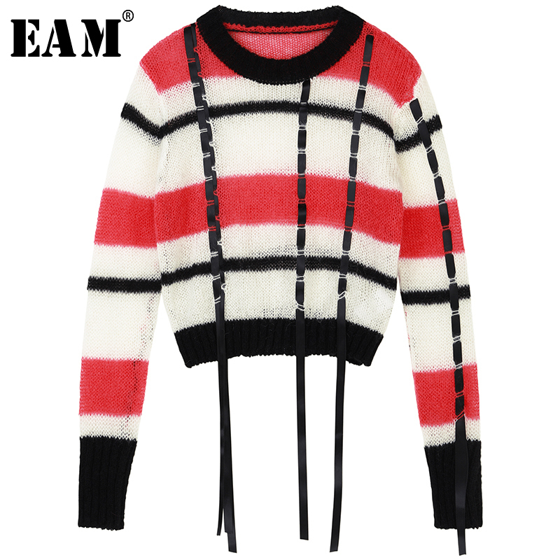 [EAM] 2019 New Autumn Winter Full Sleeve Turtleneck Collar Pullover Loose Patchwork Women Fashion Tide Long Sweater OA820