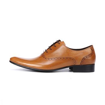 Fashion Genuine Leather Brogue Men Dress Shoe Pointed Toe Oxfords Shoes For Men Lace Up Designer Luxury Men Formal Shoes B75