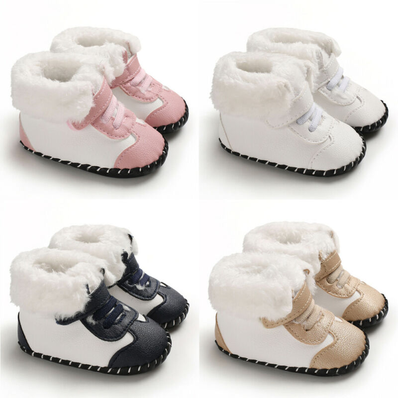 2019 Baby Winter Warm Fuzzy Boots Unisex Solid Ankle Boots Pram Shoes Fleece Warm Anti-slip Baby PU Soft Soled Boots 0-18M