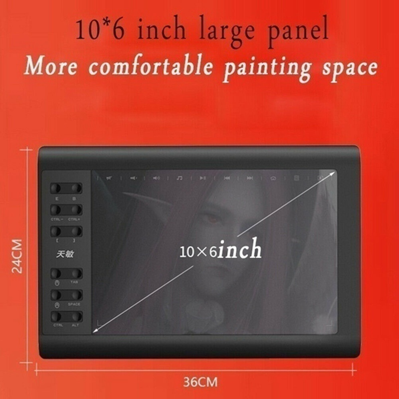 10*6'' IPS HD Graphics Drawing Digital Tablet Monitor Pen Display 233 Point Quick Reading Pressure Sensing Universal 6