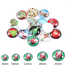 купить 12mm/20mm/25mm Mixed Style Christmas Round Glass Cabochon Dome Jewelry Finding Cameo Pendant Settings 20pcs DIY Christmas Gift дешево