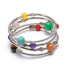 NEW Natural Turquoise Agate Multi-circle Wrapped Seven Chakra Multi-layer Bracelet Party Boho style chic openwork circle turquoise bracelet for women