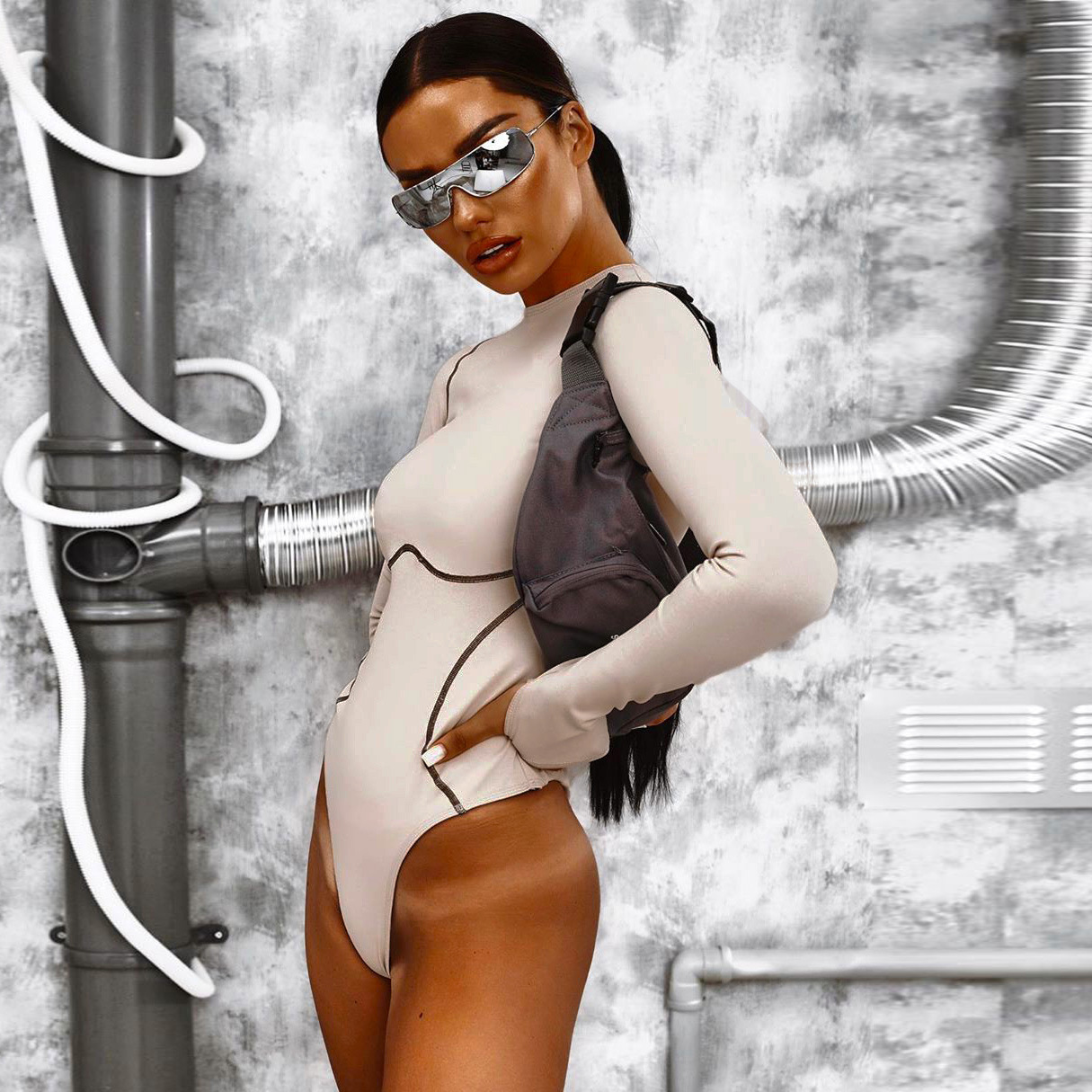 Women Apricot Sexy Bodysuits 2019 New Autumn Winter Long Sleeve O Neck Short Romper Skinny Overalls Casual Bodysuit Tops Female in Bodysuits from Women 39 s Clothing