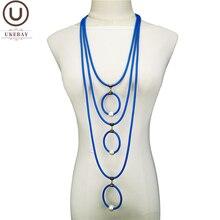 UKEBAY yeni kadın kolye kolye uzun kazak zincirleri lüks tasarımcı el yapımı takı kauçuk kolye 4 renk etnik hediyeler