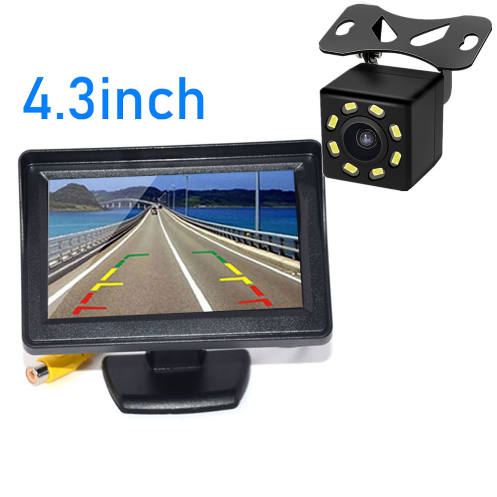 BYNCG 2In1 Car Parking System Kit 4 3inch TFT LCD Color Rearview Display Monitor   Waterproof Reversing Backup Rear View Camera