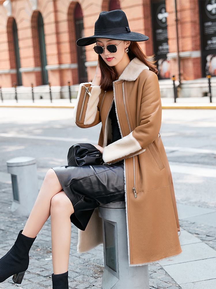 Coat Winter Women Double Faced Real Fur Coat Female Real Leather Jacket Women Clothes 2020 Luxury Wool Fur Coats MY4402 S