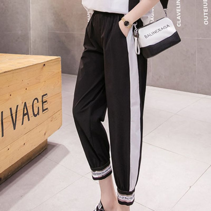 Women Harem Pants Casual Harajuku Ankle-Length Trousers Loose High-Elastic Pants Streetwear Sports Side White Pants