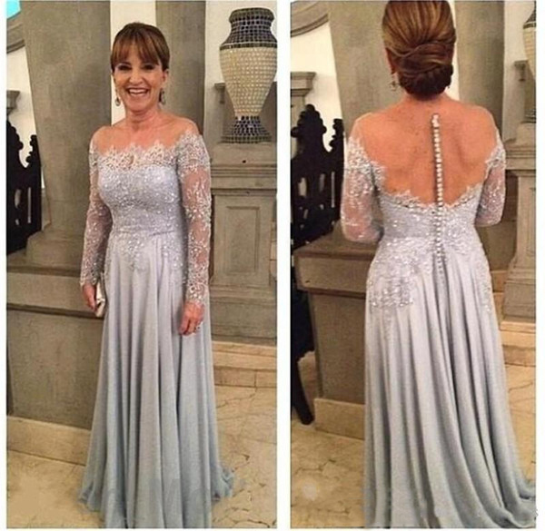 Plus Size Mother Of The Bride Dresses A-line Long Sleeves Chiffon Appliques Beaded Groom Mother Dresses For Weddings