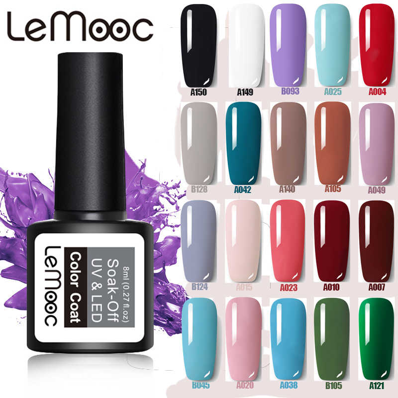 Lemooc 8Ml Nagellak Gel Kleurrijke Losweken Semi Permanente Top Base Coat Uv Gel Vernis Nail Art Diy ontwerp Decoratie Gel
