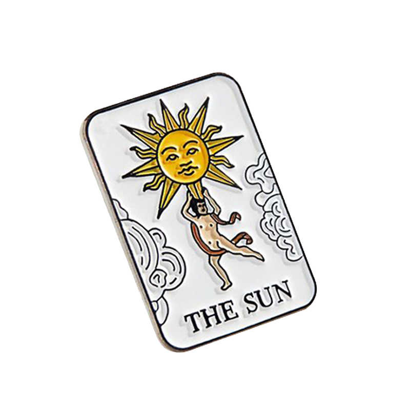 The sun tarot pin charm amulet badge mixed media jewelry pop divination lovers gift