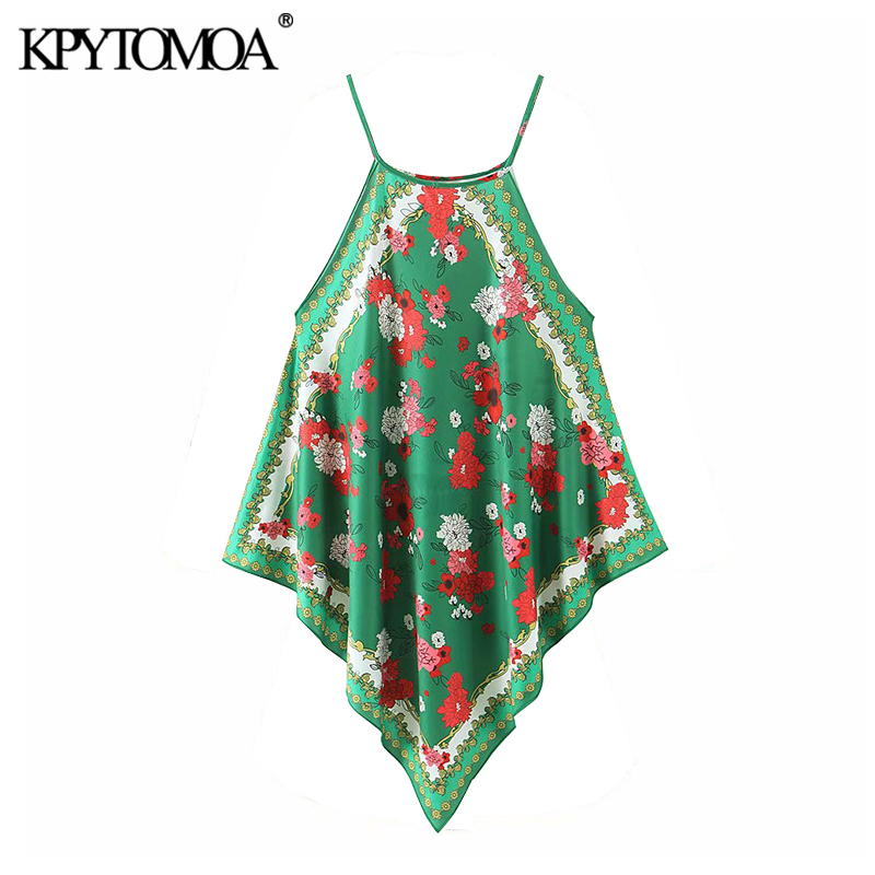 KPYTOMOA Women 2020 Fashion Floral Print Asymmetric Halter Blouses Vintage Sleeveless Side Vents Straps Female Shirts Chic Tops