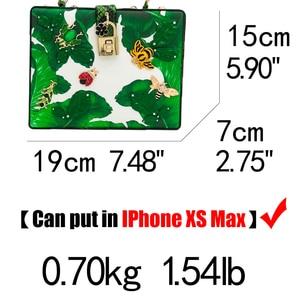 Image 5 - Двойной цветок зеленый лист банана маленькие насекомые женская сумка через плечо сумки через плечо Женская Повседневная вместительная сумка клатч