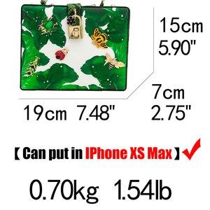 Image 5 - כפול פרח ירוק בננה עלה קטן חרקים נשים Tote תיק כתף תיקי Crossbody שקיות גבירותיי מזדמן תיבת מצמד תיק