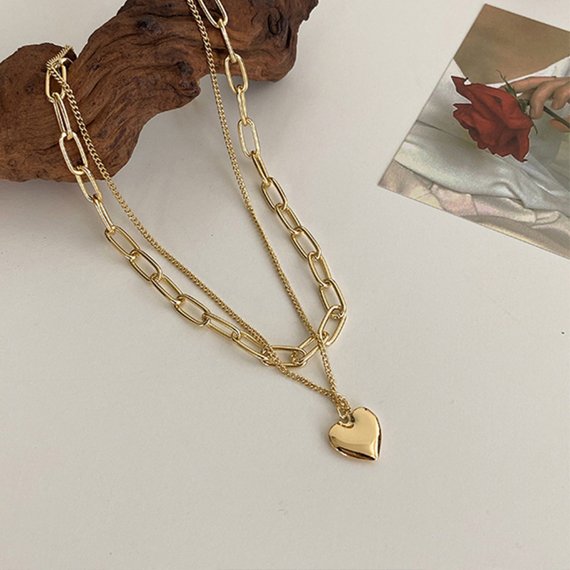 LATS Gold color necklace hip hop sweater chain love pendant sweater chain long multi layer necklaces for women Fashion Jewelry