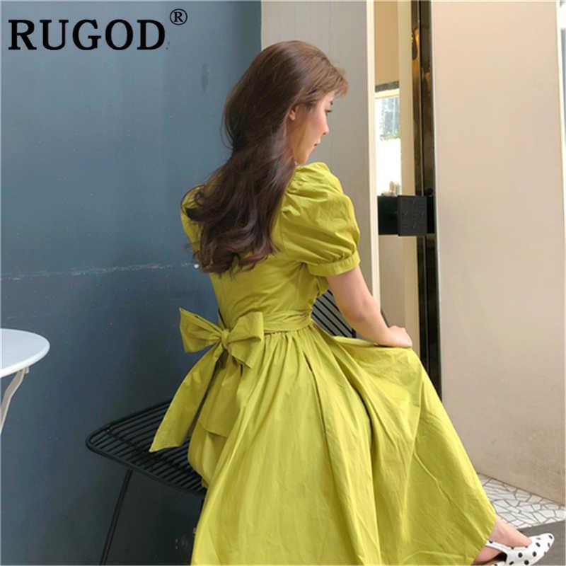RUGOD Elegant Lace-Up Beltedชุดผู้หญิงแฟชั่นO-NeckพัฟแขนBig Hem Beachชุดสีสดปาร์ตี้ฤดูร้อนชุดVestidos