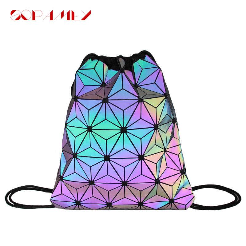 Frauen Rucksack Holographische Weibliche Geometrische Leucht Rucksack Für Teenager Mädchen Bagpack Rucksack mochila feminina