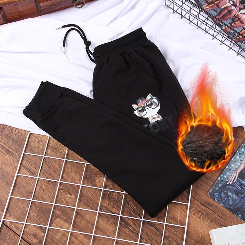 DONAMOL Plus Size Black Women Fleece Leisure Pants Loose Printing Harem Pants Warm Thicken Sweatpants 2020 New Winter Trouser