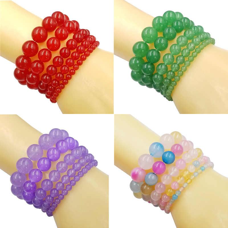 Venda 1 pc grânulos pulseira para mulher homem feito à mão de cristal natural pedra fio elástico jóias ágata diy acessórios 4/6/8/10/12mm