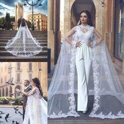 Frauen Schleier Cape Tüll Spitze Applique 3M Elegante Hochzeit Capes Braut Wraps Lange Zug Schals Mantel