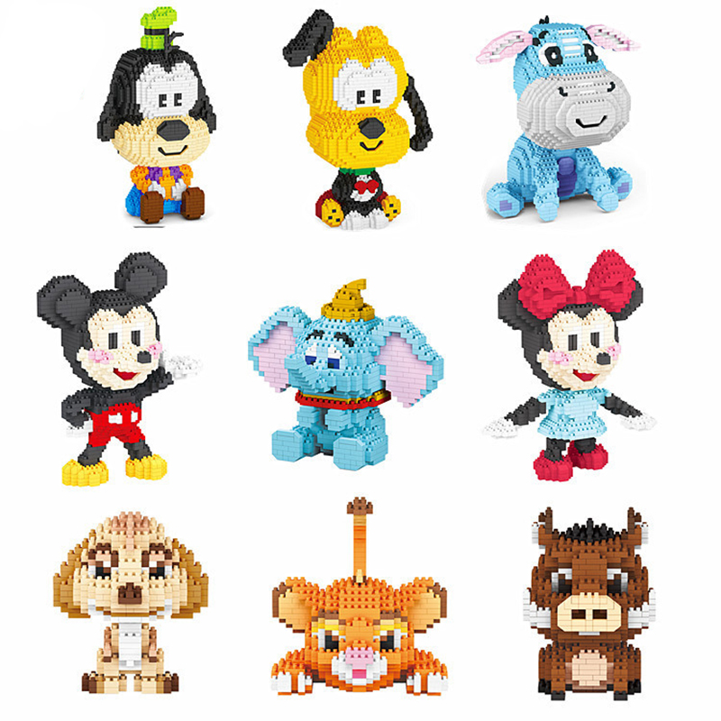 Série Disney Mirco blocs de construction pluton Mickey Mouse roi Lion Simba Timon Pumbaa bourriquet figurines Mini brique pour blocs jouets