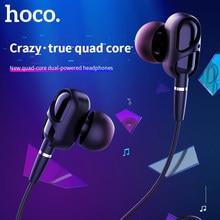 HOCO Dual Stick Stereo 3,5mm Wired Kopfhörer In-ohr Bass Headset dual Moving Coil Ohrhörer mit MIC Für IPhone Samsung telefon MP4 3