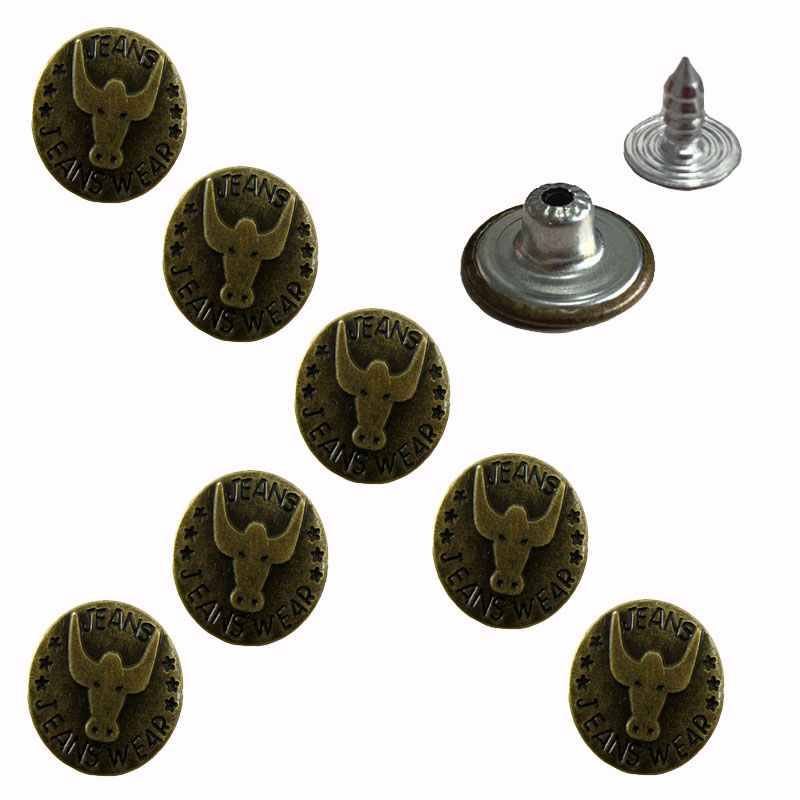 "50 Sets 3/4"" Bronze Bull Buttons Jean Tack Metal Buttons Knopf Bouton Retrol For Garment Accessories 2.0cm"