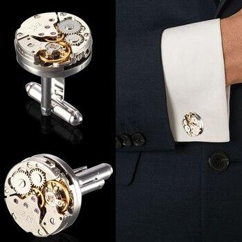 2Pcs Fashion Women Men Mechanical Watch Movement Cufflinks Shirt Sleeve Buttons bullet aircraft modeling Cufflinks Christmas Gif