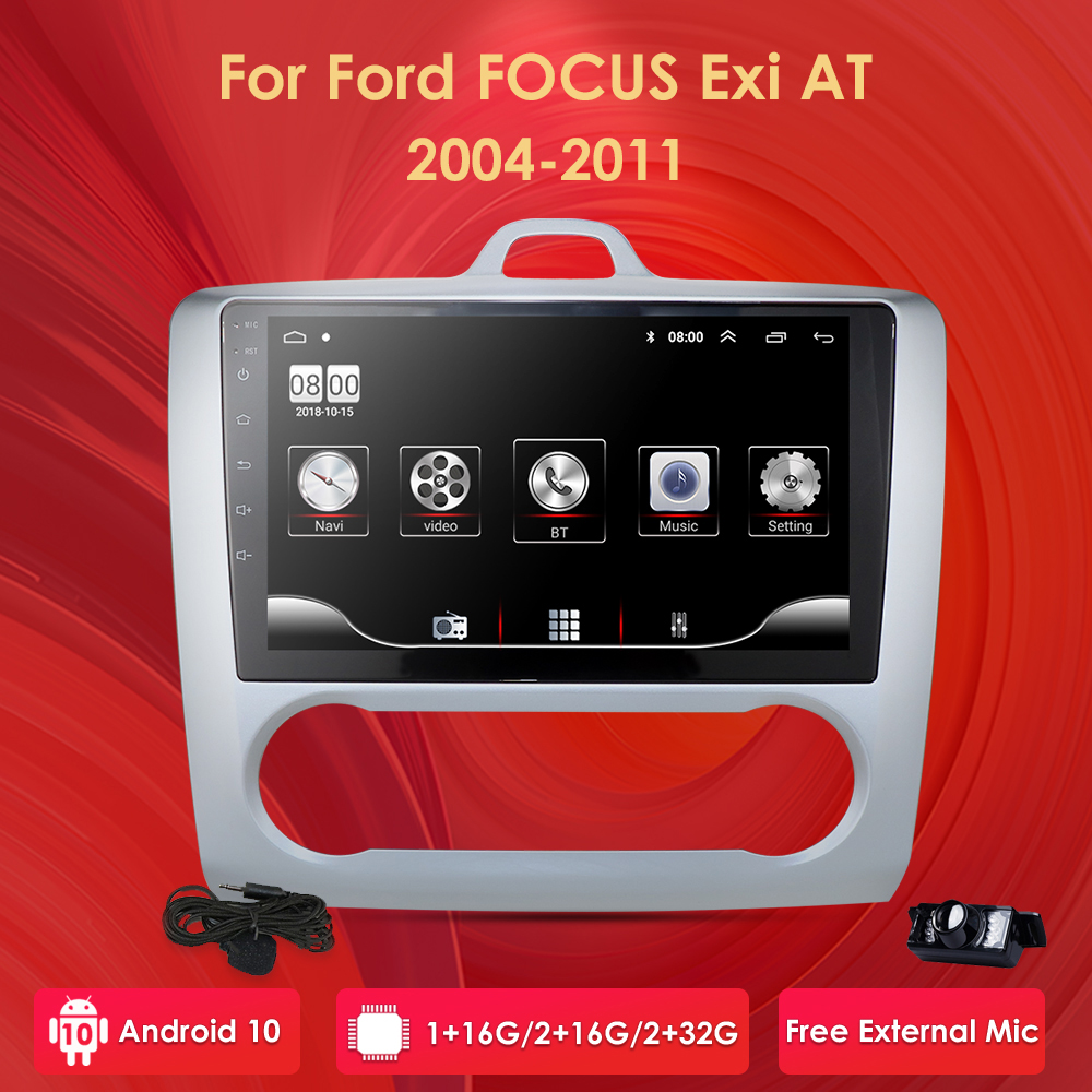 For 2004 2005 2006-2011 Ford Focus Exi AT Android 10 2 DIN 9 Inch GPS Navigation Touchscreen Quad-core Car Radio 4G WIFI 2+32 PC image