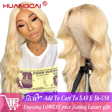 Middle Part 613 Blonde Lace Part Human Hair Wig Pre Plucked 150% Brazilian Body Wave Honey Blonde 13x1 Lace Wigs Remy Human Hair