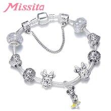 MISSITA Cute Mickey Series Bracelets with Minnie Beads Brand Bracelet for Women DIY Anniversary Gift