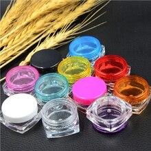 Tarro vacío de fondo cuadrado para muestra, 100 Uds., 3g/5g, recipiente para viales para maquillaje, cosmética rostro crema, pigmento, arte de uñas, regalo creativo