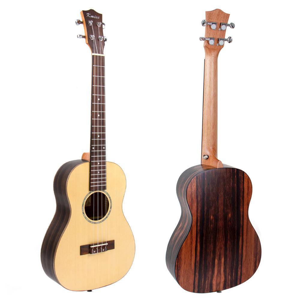 Kmise ukulélé baryton 30 pouces Ukelele Uke en épicéa massif guitare 4 cordes avec accordeur de cordes - 2
