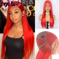 IvyNa Red Synthetic Full Lace Wigs for Women Baby Hair Around Futura Synthetic Full Lace Wigs Pre Plucked 22 Inch Long Straight