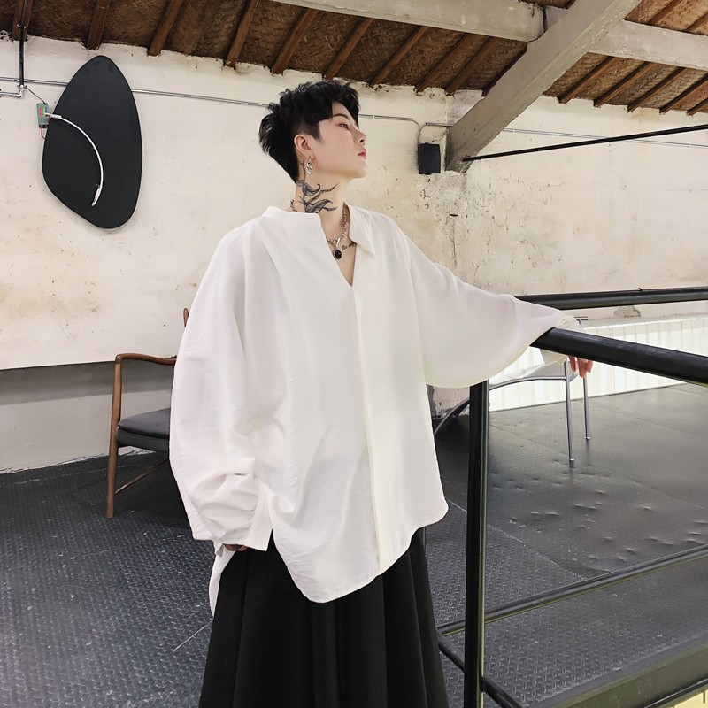 Harajuku Loose Fit Mens Shirts Stand Collar Designer Tops Male Casual Classic Black White Baggy Spring Long Sleeve Shirt Top