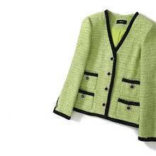 Handmade Luxury Blazer Suits for Women Classic Simple V Neck Green Tweed Buttons